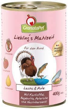 GranataPet Lieblings Mahlzeit Lachs & Pute mit Kartoffel, Hagenbutten, Petersilie und Nachtkerzenöl 400g (Menge: 6 je Bestelleinheit)