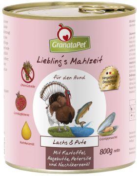 GranataPet Lieblings Mahlzeit Lachs & Pute mit Kartoffel, Hagenbutten, Petersilie und Nachtkerzenöl 800g (Menge: 6 je Bestelleinheit)