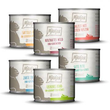 MjAMjAM - Mixpaket III - Wild & Kaninchen, Pute, Ente & Geflügel, Herzen, Huhn, Rind 6 x 200 g