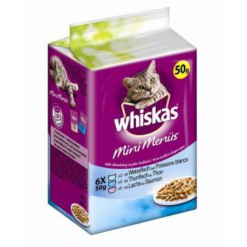 Whiskas 1+ Fresh Menü mit Weissfisch, Thunfisch & Lachs 6x50g (Menge: 12 je Bestelleinheit)