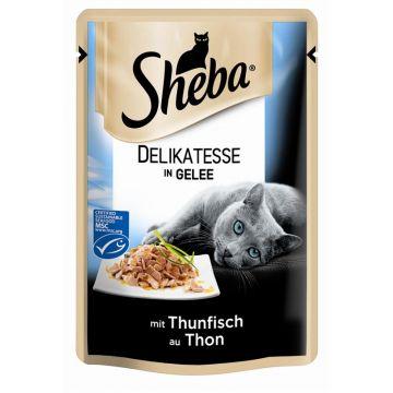 Sheba Portionsbeutel Delicato mit Thunfisch in Gelee 85g (Menge: 12 je Bestelleinheit)