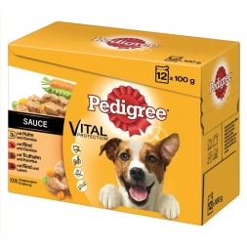Pedigree Portionsbeutel Adult in Sauce im Multipack 12x100g (Menge: 4 je Bestelleinheit)