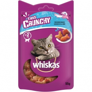 Whiskas Snack Trio-Crunchy Lachs, Weissfisch 55g (Menge: 6 je Bestelleinheit)