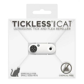 TickLess MINI Cat wiederaufladbares Ultraschallgerät gegen Zecken & Flöhe für Katzen - Weiss