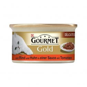 Gourmet Gold Delicatess Rind, Huhn & Tomatensoße 85g (Menge: 12 je Bestelleinheit)
