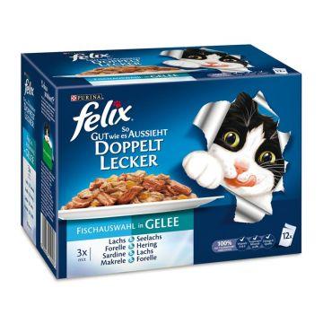 Felix So gut wie es aussieht 12er MP Doppelt lecker mit Fisch, 12x100g (Menge: 6 je Bestelleinheit)