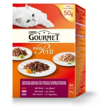 Gourmet Cat Frischebeutel Multipack Mon Petit Fleisch 6x50g (Menge: 8 je Bestelleinheit)