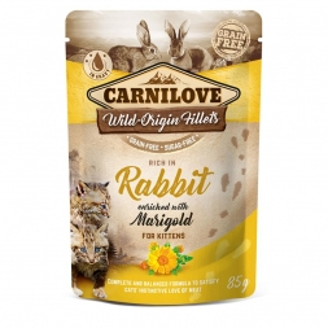 Carnilove Cat Pouch Kitten - Rabbit with Marigold 85g (Menge: 24 je Bestelleinheit)